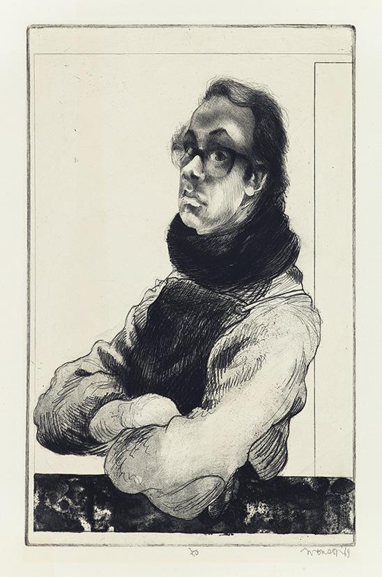 Gravure de Jim Monson : Autoportrait / Self Portrait
