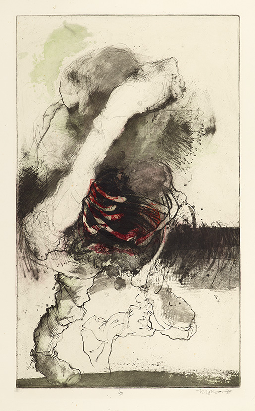 Gravure de Jim Monson : Figure Penché / Leaning Figure