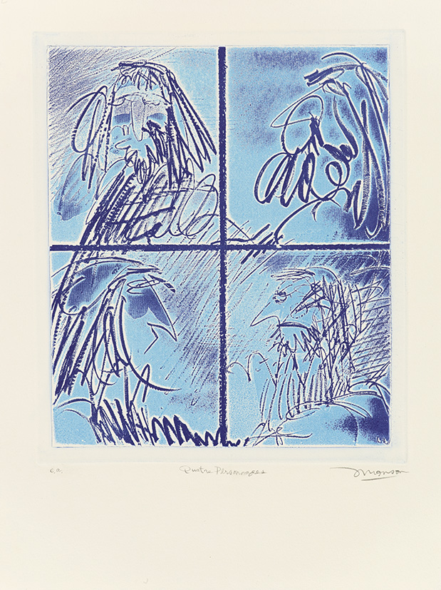 Gravure de Jim Monson : Quatre Personages / Four Figures