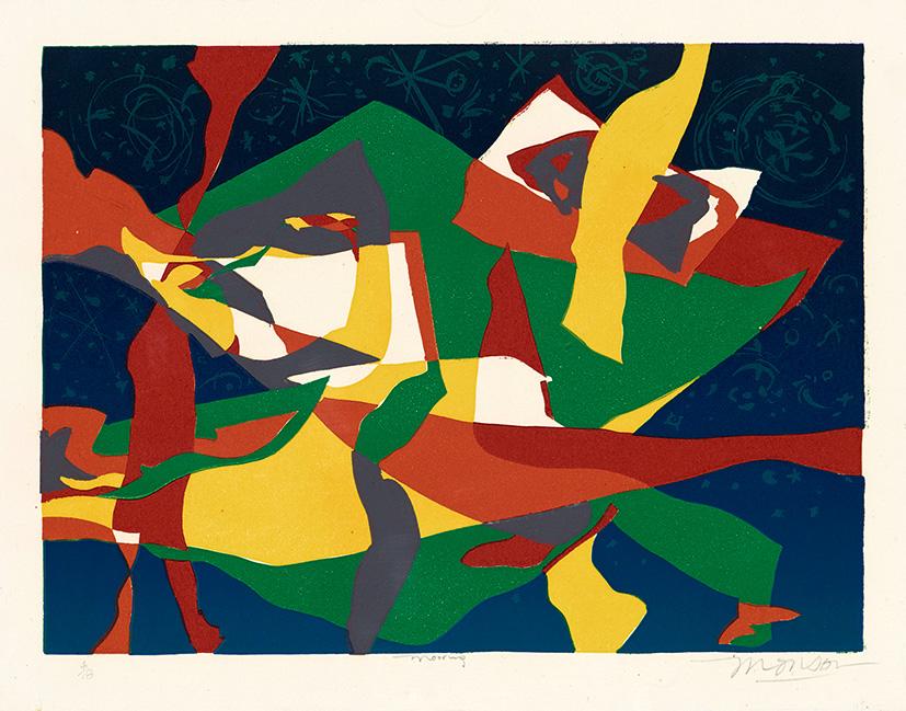 Linogravure de Jim Monson : Amarre / Mooring
