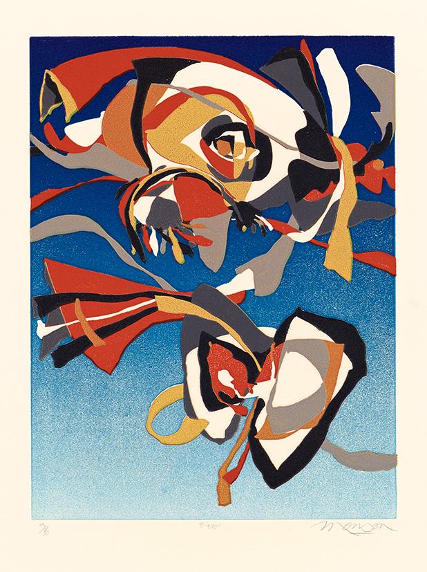 Linogravure de Jim Monson : Cerf-volant / Kite