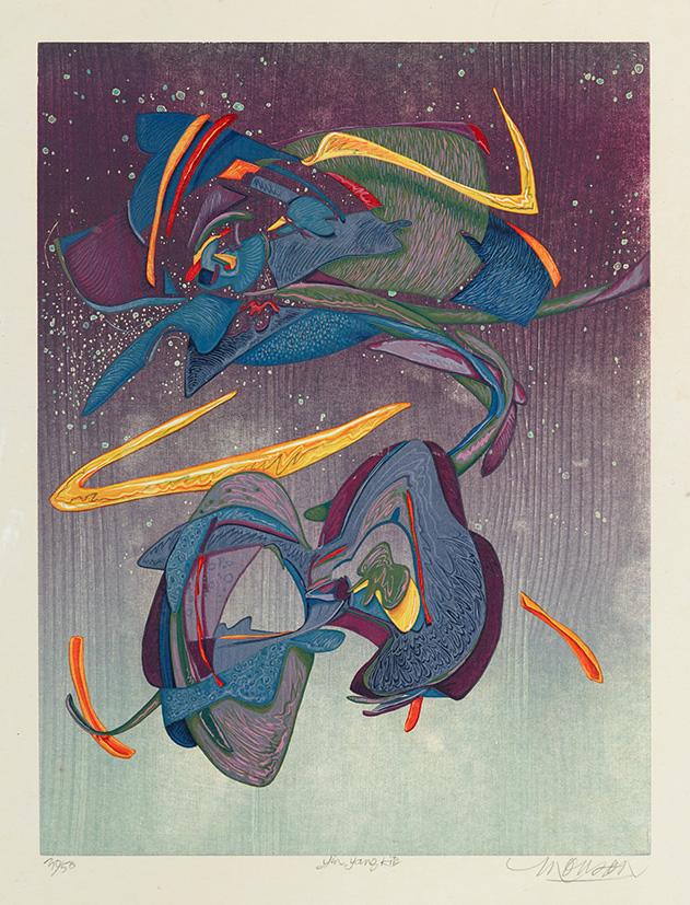 Bois grave de Jim Monson : Cerf-volant Yin Yang / Yin Yang Kite