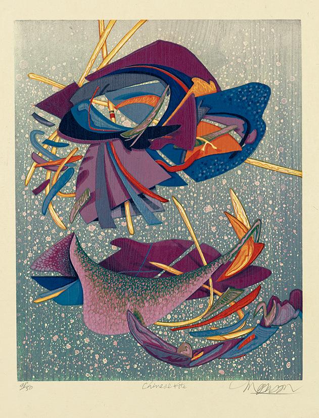 Bois grave de Jim Monson : Cerf-volant Chinois / Chinese kite