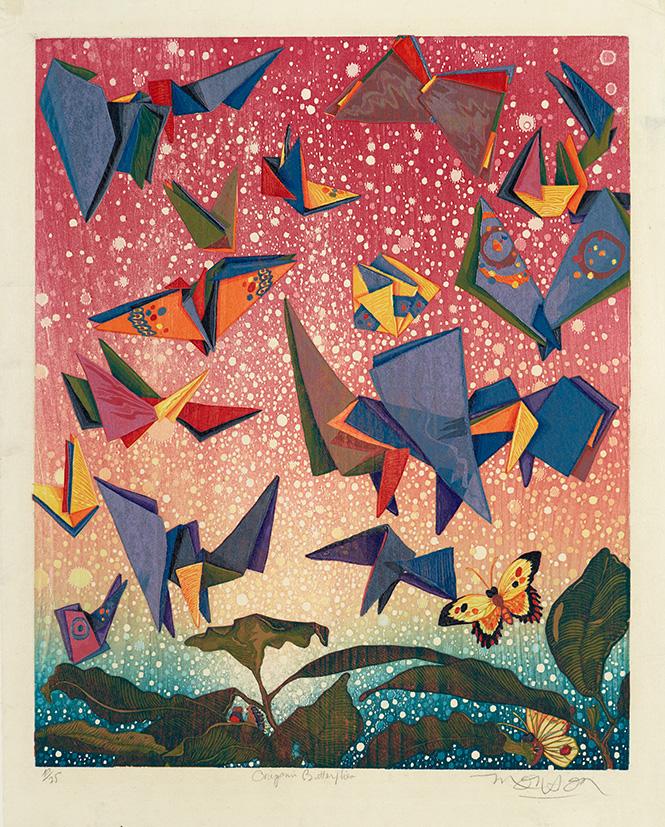 Bois grave de Jim Monson : Papillons Origami / Origami Butterflies