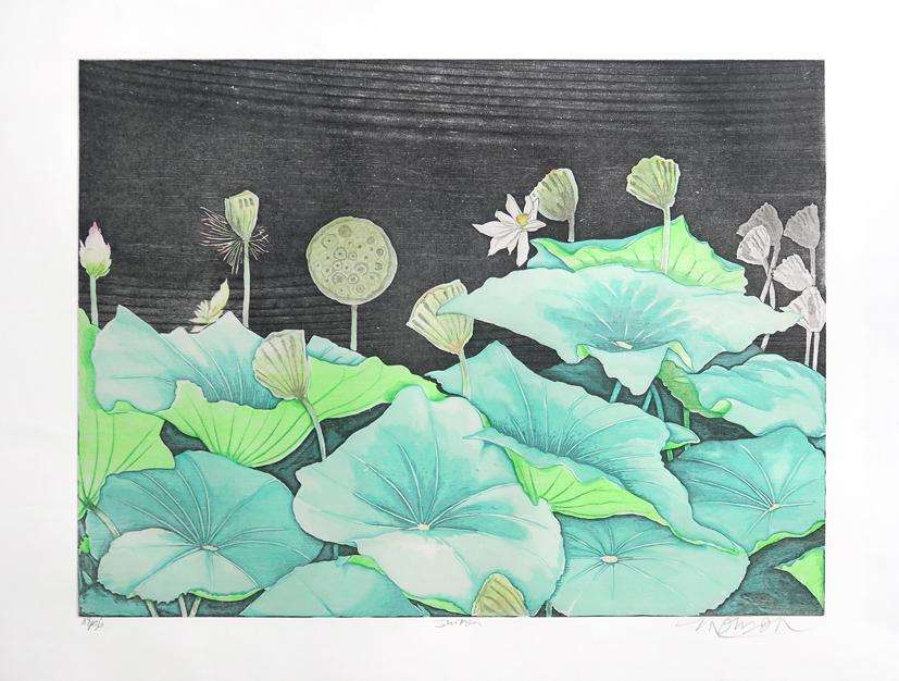 Bois grave de Jim Monson : Suiren / Lotus
