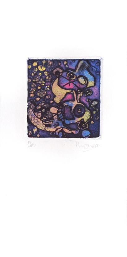 Gravure de Jim Monson : Bulles Bleues / Blue Bubbles